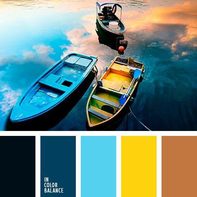 """""""пыльный"""" оранжевый, """"пыльный"""" синий, оттенки синего, синий, сочетание холодных и теплых тонов, темно-синий, цвет заката, цвет заката на море, яркий голубой."""