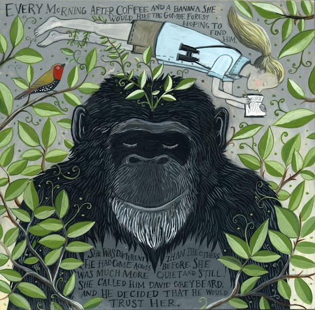Jane + David by Diana SudykaArtists Diana, 03 Animal, Animal Painting, Animal Art, Tiny Aviary, Jane Goodall, Diane Sudyka, Diana Sudyka, David Greybeard