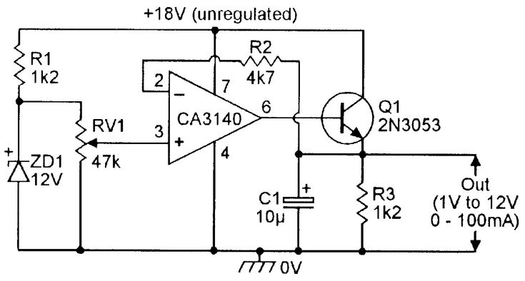 Simple variable-voltage regulated power supply