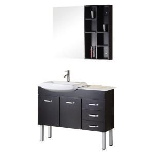 Tustin 43 in. Vanity in Espresso with Composite Stone Vanity Top in White and Mirror-DEC078A at The Home Depot