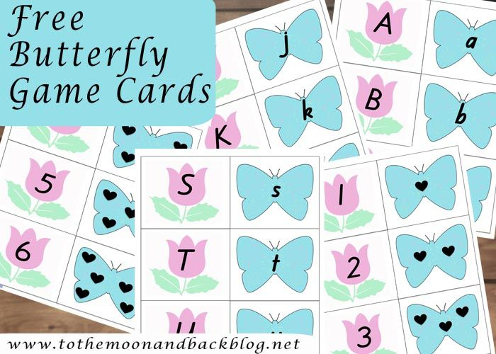 Butterfly Number Game Cards