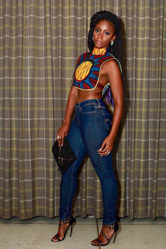 Teyonnah Paris in an Top Shop African Breast Plate