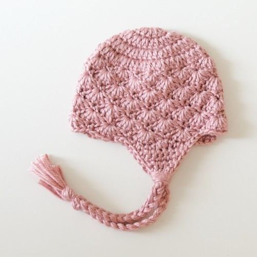 Newborn Shell Crochet Earflap Hat - Victorian Rose (Photography Prop) - by littlenewborncreations on madeit