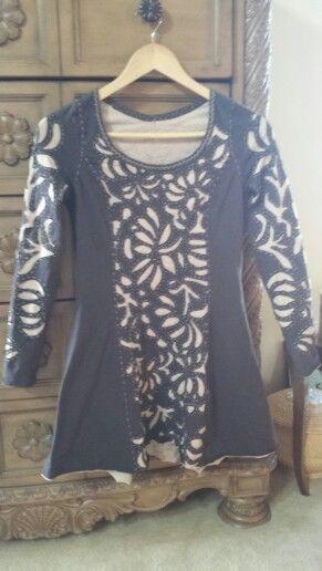 Anna ' s Garden stencil, negative reverse embroidery, lightweight knit