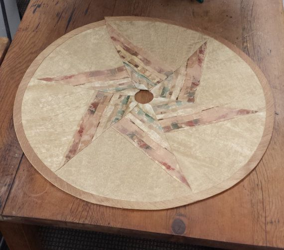 "24"" Mini-Tabletop Star Christmas Tree Skirt: muted colors of rust terra cotta green gold contemporary southwestern faux suede"