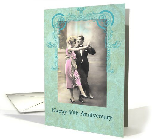 happy 60th wedding anniversary, vintage dancing couple, pink and turquoise card