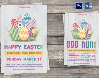 Easter Invitation Card/Flyer | Easter Party Invitation Flyer | Instant Download Photoshop Template | Microsoft Word #ad #oybpinners