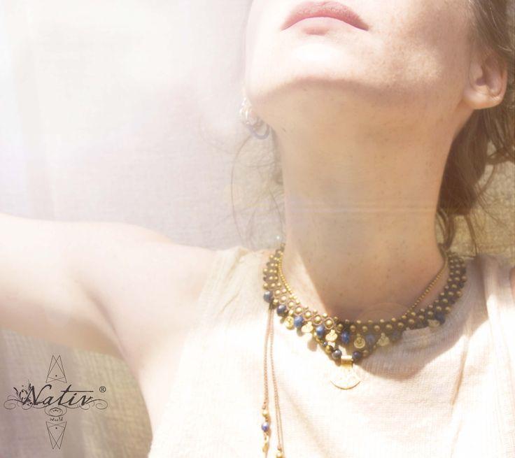 Macrame Necklace with Lapis Lazuli  #macrame #handmade #stones #macramejewelry #handmadejewelry #lapislazuli #brass #Nativ