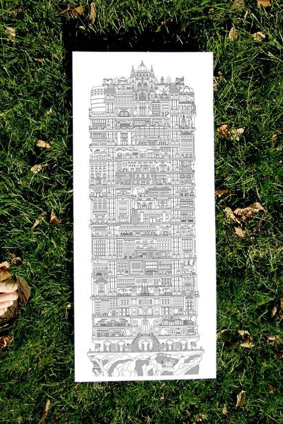 Typographie originale print  villes Vertical 2e par allisonrae