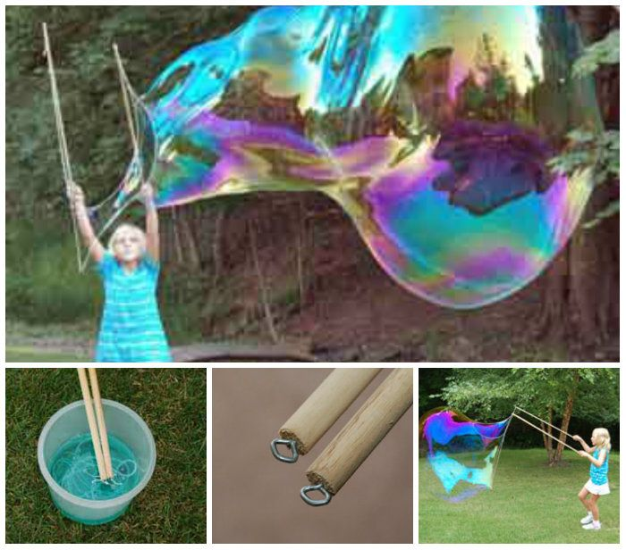 Learn how to make huge bubbles using wooden dowels and some string. The giant bubble wand is very easy to make at home.