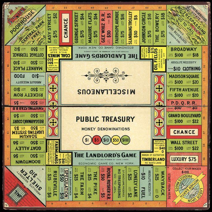 Landlord's Game Board - Circa 1906