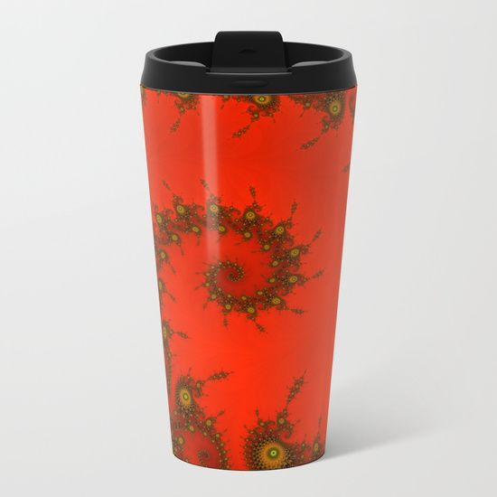 Red fractal. Abstract pattern Metal Travel Mug