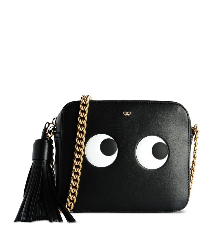 Anya Hindmarch Eyes Black Leather Crossbody Bag 9GzCHXrk