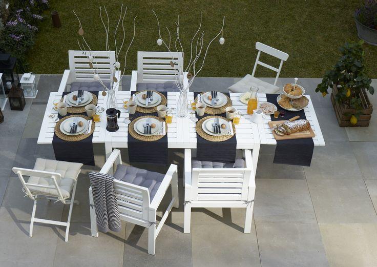 ÄPPLARÖ tafel met 4 leunstoelen | #IKEA #WelkomBuiten #tuinset #tuintafel #tuinstoel #wit #tuin #buiten
