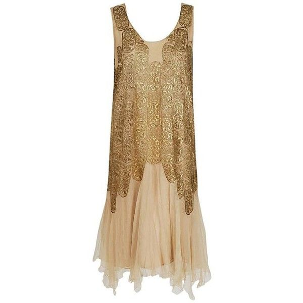 Preowned 1925 Elspeth Champcommunal Haute-couture Metallic Gold Lame... ($4,000) ❤ liked on Polyvore featuring dresses, multiple, silk slip, gatsby cocktail dress, flapper dress, couture cocktail dresses and art deco cocktail dress