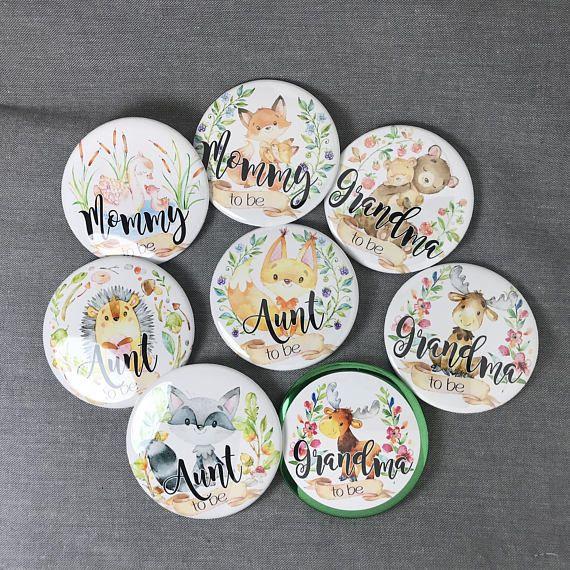 Pin// pin back button//Fox button// fox theme// fox baby shower// pin buttons
