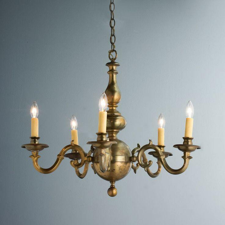 Georgian Chandelier: Antique Aged Brass Georgian Chandelier