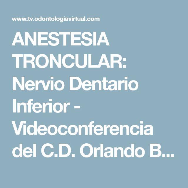 ANESTESIA TRONCULAR: Nervio Dentario Inferior - Videoconferencia del C.D. Orlando Botetano Villafuerte