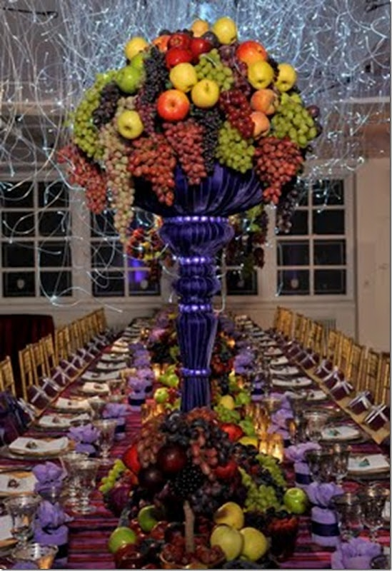 Perfect for conversation - love it when the centerpieces don't interfere - makes for a much better dinner party!