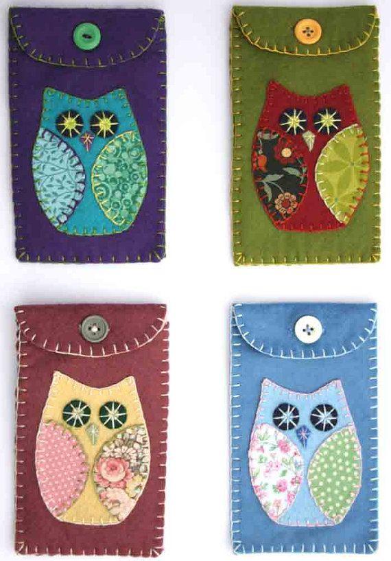 Owl phone case green felt i pod cover por PuffinPatchwork en Etsy
