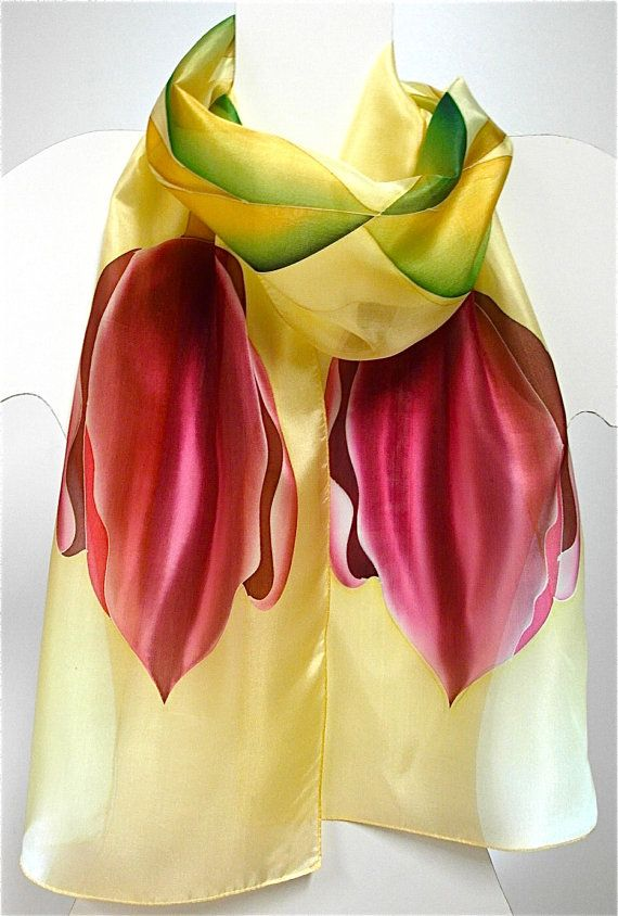 Hand painted silk scarf shawl scarves by EwaGrol on Etsy, zł119.00