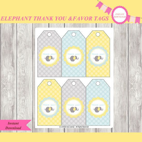 Elephant baby shower Thank You Tags-Favor Tags-party supplies-Party printable Favor or Thank You Tags-baby boy-baby shower-INSTANT DOWNLOAD-