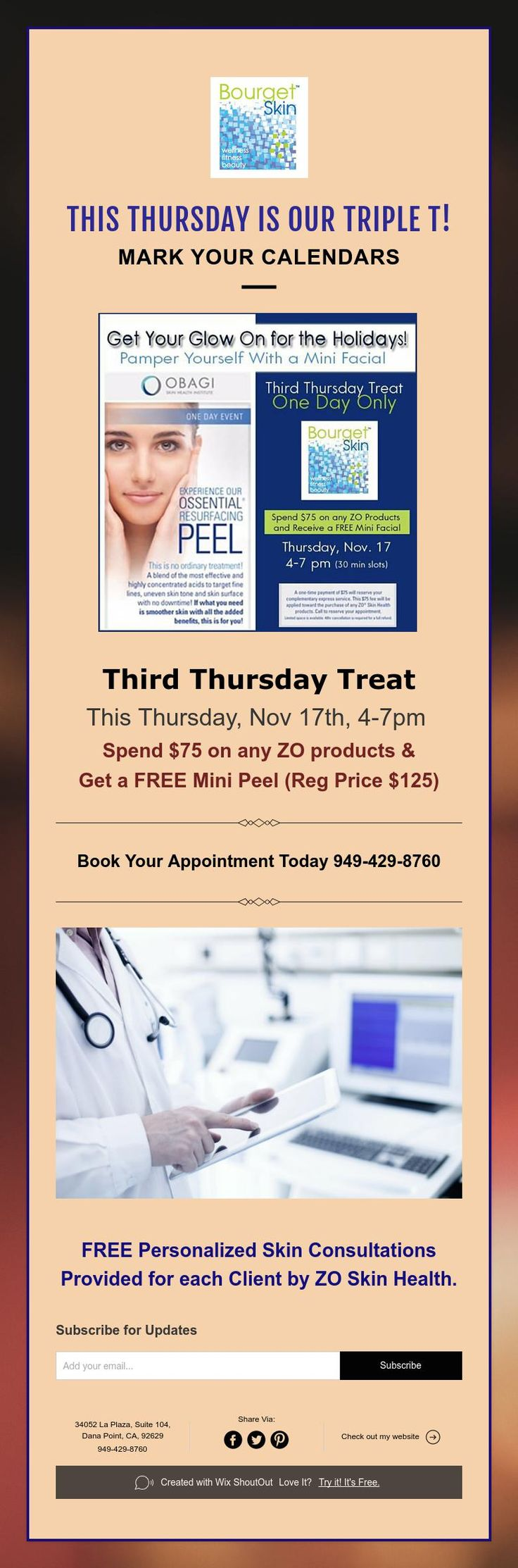 Free Mini Peel* at Triple T Event This Thursday