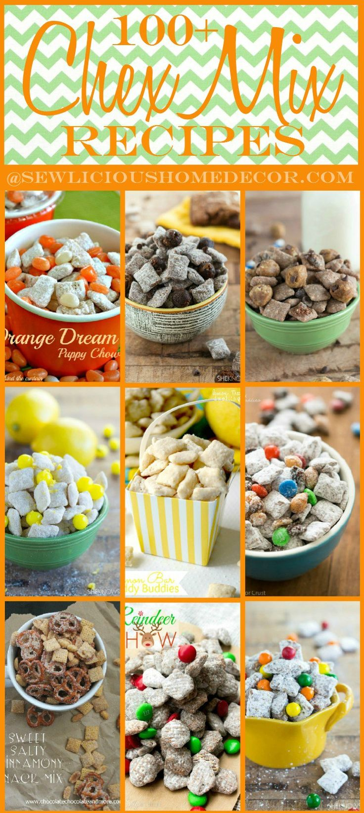 100 Party Chex Mix Puppy Chow Recipes and Appetizers @ Sew Licious Home Decor|                                                                                                                                                      More