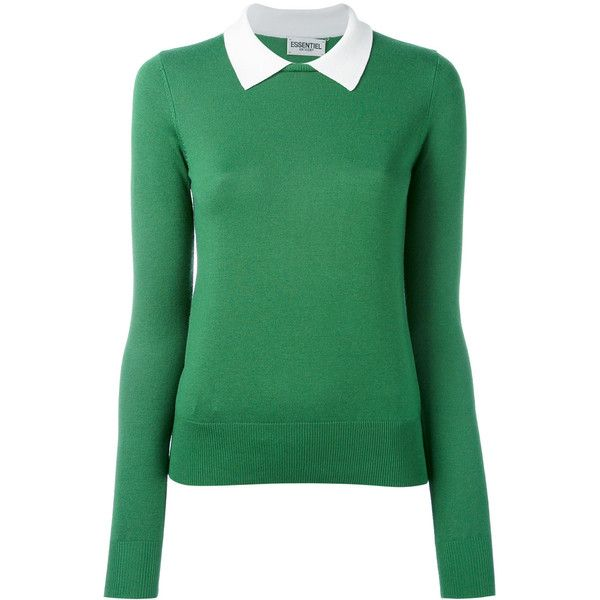 Essentiel Antwerp Nagoya sweater ($160) ❤ liked on Polyvore featuring tops, sweaters, green, green sweater, long sleeve tops, green long sleeve top, long sleeve sweater and green top