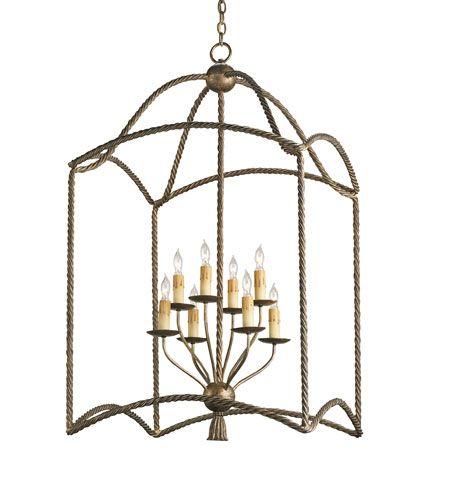 Currey & Company Bamburgh 8 Light Hanging Lantern in Nevo Oro Antico 9043 | Lighting New York