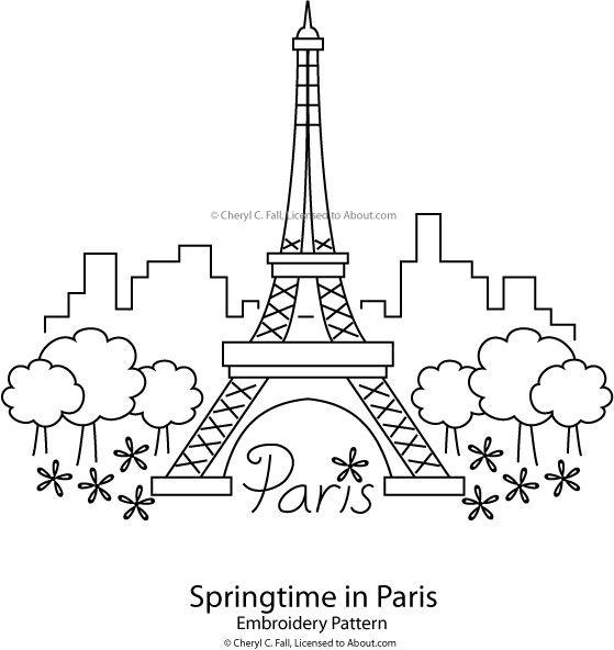 eiffel tower springtime in paris pattern - Paris Eiffel Tower Coloring Pages