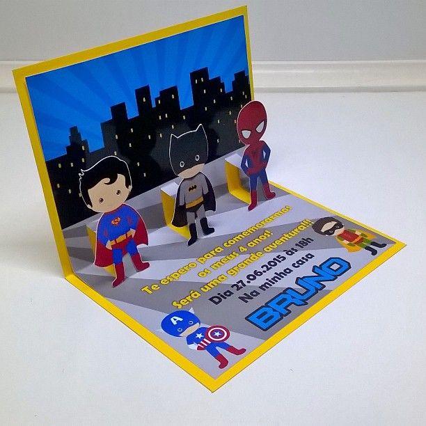 Convite Pop Up Super Heróis!!! Em breve estará disponível na loja, mas quem quiser já pode solicitar - artspimenta