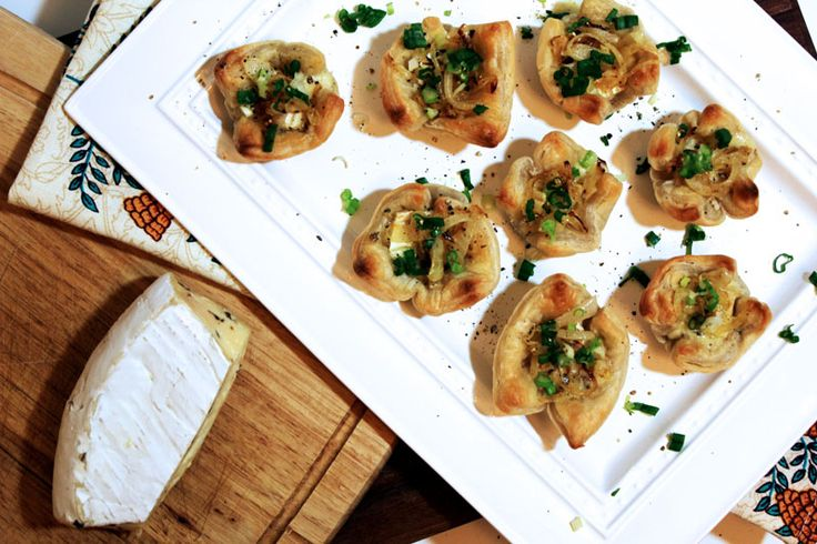 Savory Baked Brie Bites - with caramelized onions and scallions