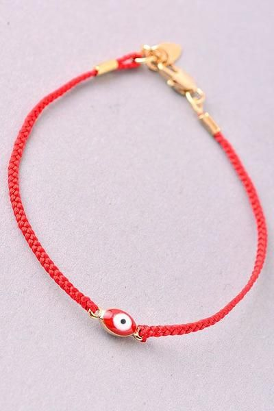 Dainty Evil Eye Bracelet Red