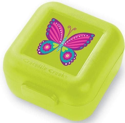 "Crocodile Creek Snack Keeper  A wonderful addition to our Back-to-School line. Eco friendly, reusable, one-piece, snack and side-dish food containers are perfect for school lunches. No more lost lids! Solid construction prevents crushing! Packed in sets of two. Keepers are 3""X3.5""X2"". Made of Polypropylene. Hand washing recommended."