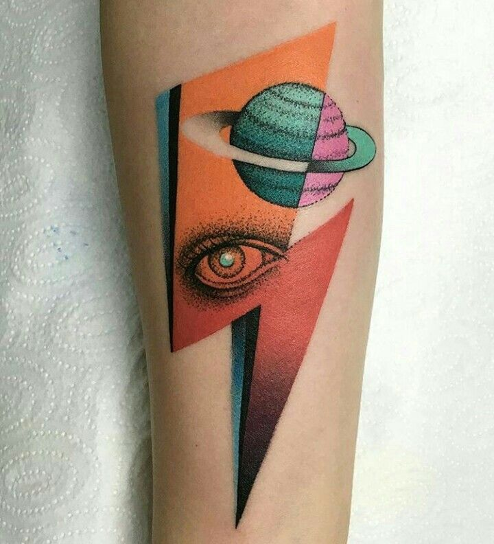 By Mariusz Trubisz | Poland | #Tattoo #Retro #RetroFuturism #ColorTattoo #Saturn #Eye