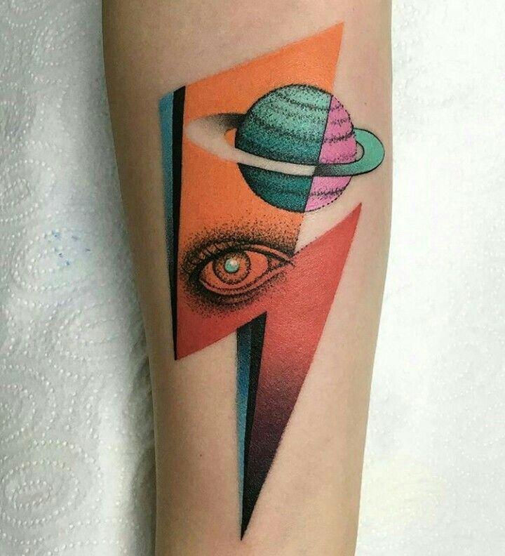 By Mariusz Trubisz   Poland   #Tattoo #Retro #RetroFuturism #ColorTattoo #Saturn #Eye