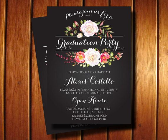 Floral Graduation Invitation   Printable by AnnounceItFavors