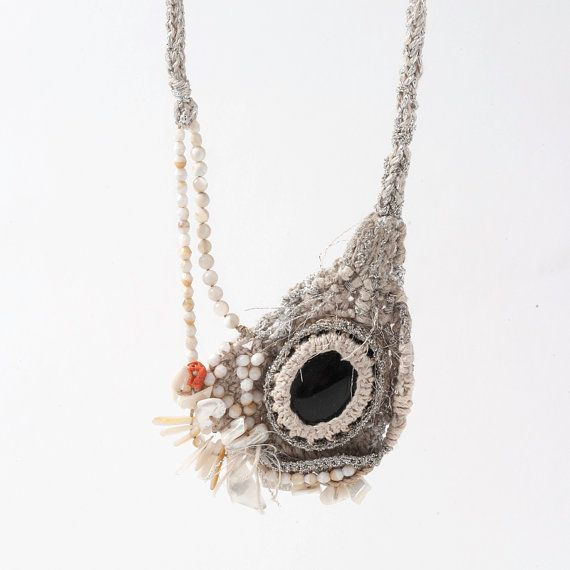 Ecru and Silver Crocheted Necklace Pendant with Black Agate and Seashell Sticks and Beads