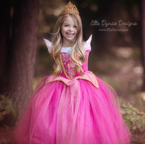 Kids Girls Sleeping Beauty Princess Aurora Dress Lace Costume Fancy Dress Party