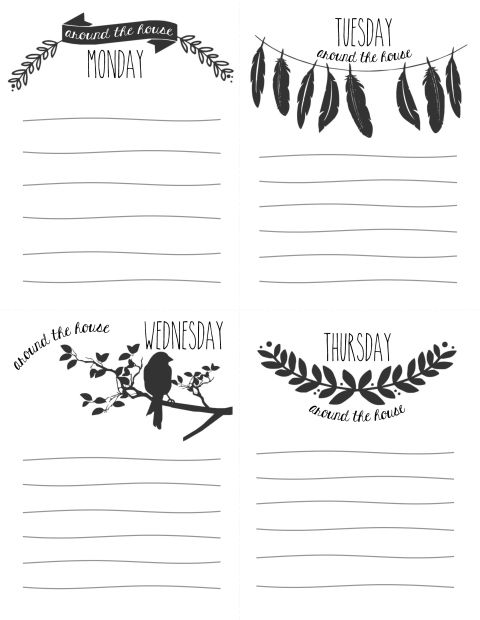 Gorgeously illustrated daily checklist printable by Little House on the Circle.