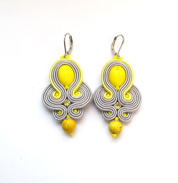 Dangle Earrings Soutache Earrings with Howlite by StudioGianna, $25.00