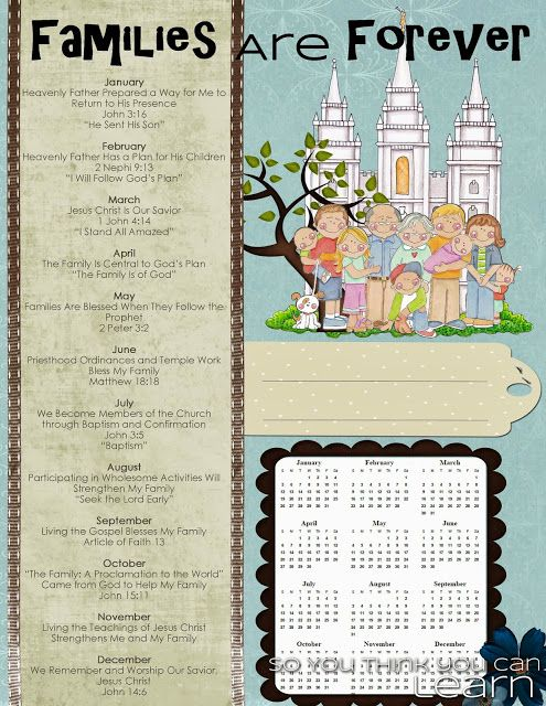 Love this cute binder cover for next year!  So grateful to this gal for including the monthly theme AND scripture, as well as a calendar. 2014 Primary Theme - Families Are Forever by So You Think You Can Learn