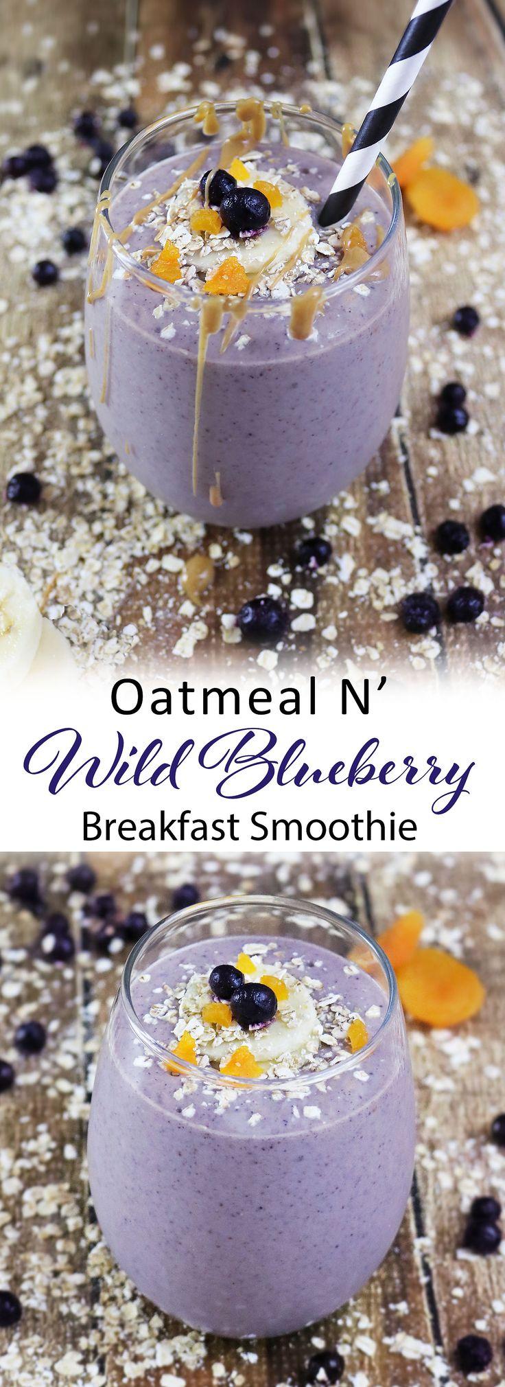 Oatmeal Wild Blueberry Breakfast Smoothie #ad #WildYourSmoothie