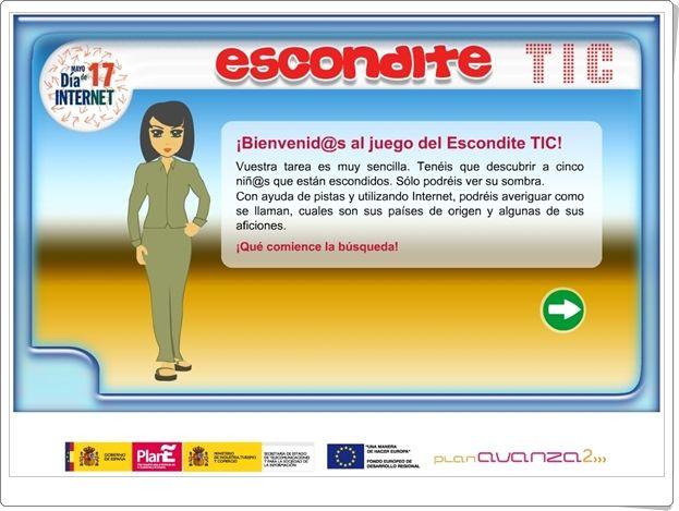 """Para celebrar el Día Mundial de Internet, 17 de mayo, """"Escondite TIC"""" es un juego dirigido a experimentar, en alumnos de primaria, el buen manejo de internet para encontrar una información determinada a la misma vez que se ponen a prueba, de forma interdisciplinar, las capacidades del alumno."""
