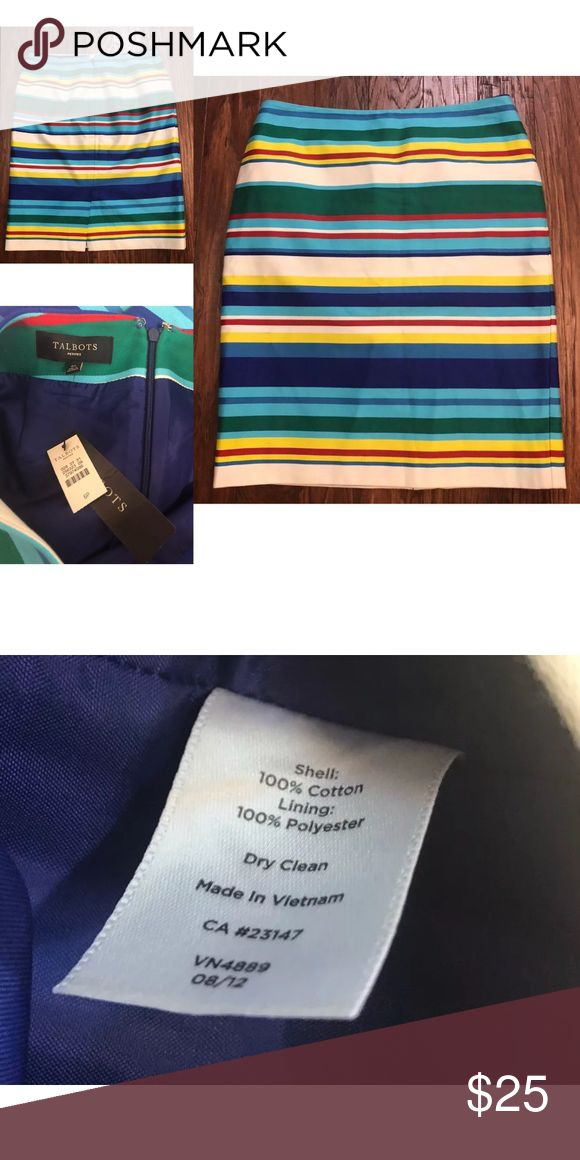 fb8eeca5c8 NWT Talbots Striped Rainbow Pencil Skirt 6 Petite For sale we have a brand  new with tags Talbots striped pencil skirt size 6P. It has…