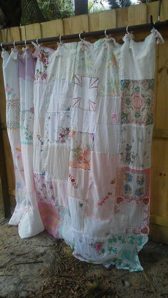 Shabby Chic Shower Curtain Vintage Women S Hankies Nordic Shabby