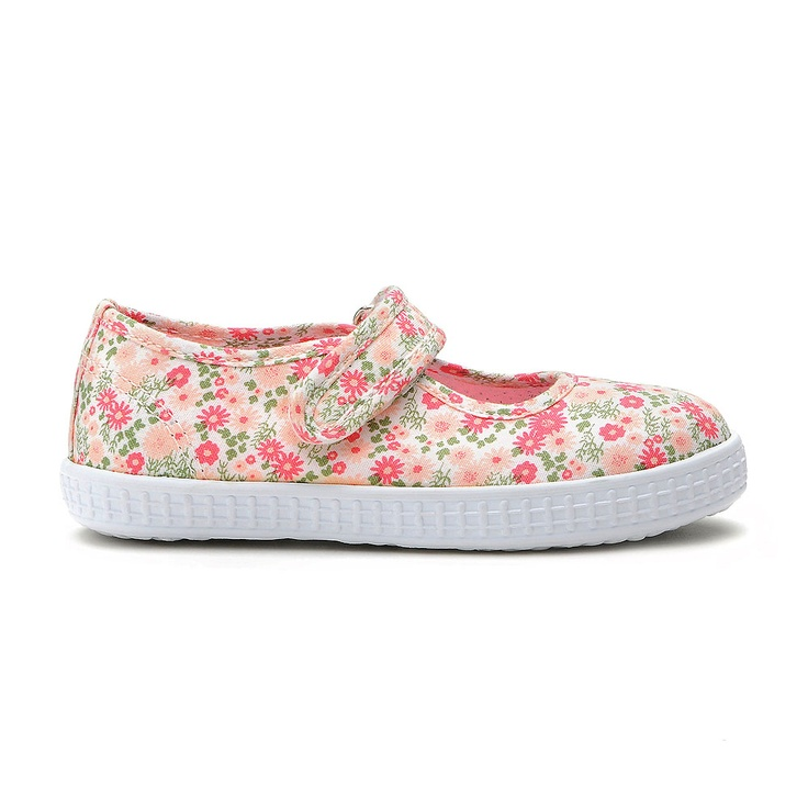 Portofino (pink print) A washable floral printed girls canvas shoe in pink  featuring a