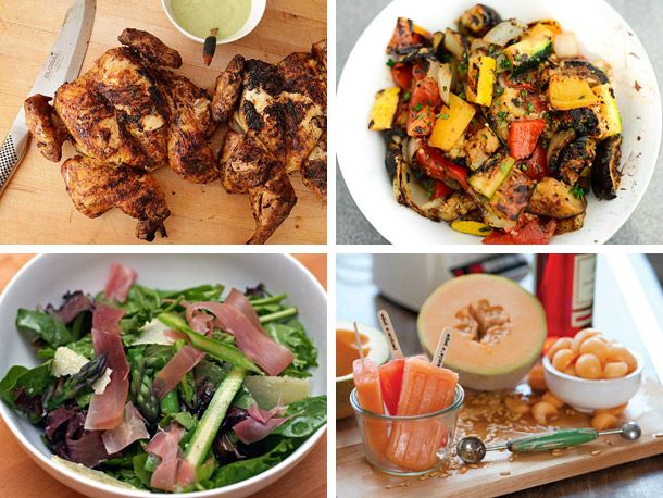 spring grilling menu! grilled chicken and grilled ratatouille