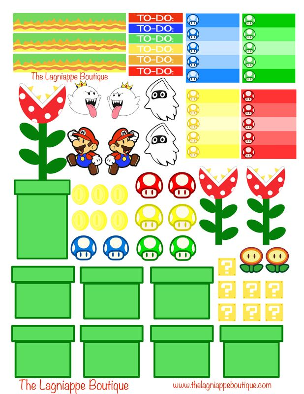 Week 2: Nintendo Mario Free Planner Stickers Download from The Lagniappe Boutique. These stickers were made to fit my Erin Condren planner with a vertical layout. Enjoy!